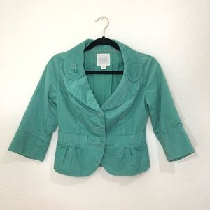 "Anthropologie ""Gidra"" 3/4 Sleeve Green Jacket Sz 0"